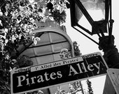 Pirate's Alley New Orleans Photography, Street sign, Gift for Him, Mardi Gras, French Quarter, black and white, man cave decor, travel