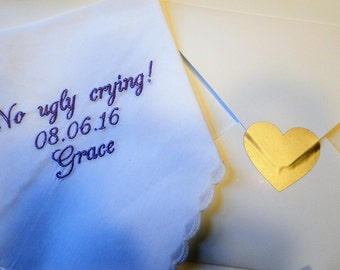 No ugly crying embroidered wedding ladie's handkerchief thanks present gift envelope keepsake women woman's bridesmaid mom mother