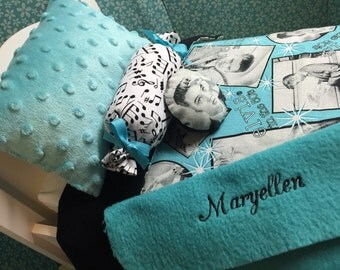 Bedding set for AMERICAN Girl & fits other 18 inch doll dolls bed 5 piece with pillow blanket Elvis 50's Maryellen Larkin