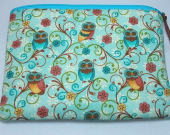 Padded Zipper Bag or Cosmetic Pouch in Aqua Owls and Floral Scroll Print