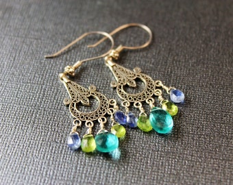 The Francesca Bali Silver Chandelier Earrings with Apatite, Kyanite and Peridot Briolettes with Bali Sterling Silver Posts