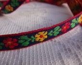 "Floral Ribbon Trim, Embroidered Flower Craft Ribbon, 7/16"" Wide Red and Yellow Flowers Ribbon Trim, 8 Yards"