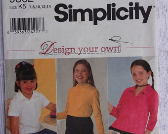 "Simplicity 9362 ""Design Your Own"" Sewing Pattern Girls' Child's Knit Tops, Long Sleeve, Short Sleeve Tops, Size  7, 8, 10, 12, 14"