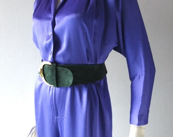 Purple 1980s Disco Fever Batwing Jumpsuit - Petites by Willi - size SM 2 4 6 Petite - The Goldbergs Chic - Textured Matte Satin Fabric