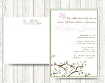 Christening Invitations // Baptism Invitation // Christening for boy or Girl // Custom text and colors