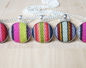 Ethnic Tribal Necklace Pendant Necklace Tribal Jewelry Fabric Button Pendant Recycled Necklace Fiber Jewelry
