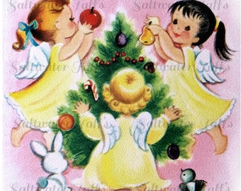 Cute Angels Decorating Christmas Tree Image Digital Download vintage transfer card holiday xmas christmas card vintage 1950s animals  Angels