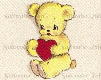 Sweet Little Bear Valentine Digital Downloads Image Vintage Card baby animals bear cub teddy bear adorable heart image 1.50 downloads jpg