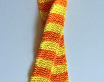Small Orange & Yellow Striped Scarf for Doll or Stuffed Animal