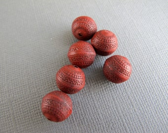 Red Acrylic Indochine Etched Beads, 6 beads 10mm