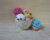 Birds - lovely little crochet plush toy with heart, great gift
