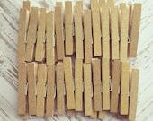150 Gold Glitter Clothespins