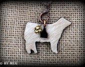 Hair on Hide Charolais Show Steer on Boho Style Leather & Chain Necklace with Charms