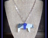Purple Ribbon Blue Butt Glass Pig With Silver Chain