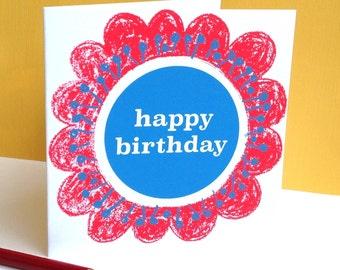 Happy birthday hand screenprinted card