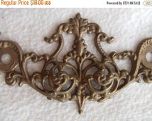 1/4 Annual 50% off SALE REDUCED! Pair of Antique Bronze French Ornate Mounts Hardware Salvage Furniture Restoration