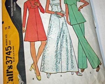 Vintage 1970s, Sewing Pattern, McCall's 3745, Misses' Size 12, Dress or Tunic and Pants
