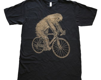 Sloth on a Bike - Mens T Shirt, Unisex Tee, Cotton Tee, Handmade graphic tee, Bicycle shirt, Bike Tee, sizes xs-xxl