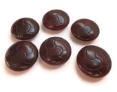 Burgundy Wine Antique Vegetable Ivory Buttons - 6 Vintage 1900s Carved from Tagua Nut
