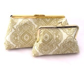 Set of (2) Gold Bridesmaids Gift Handbags in Gold lace medallion fabric- Customize your own Wedding party gift or Bridesmaids Accessory