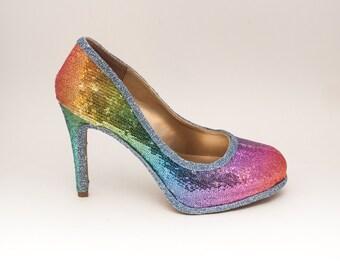 Sequin | 6 inch Rainbow Stiletto High Heels Pumps Dress Shoes
