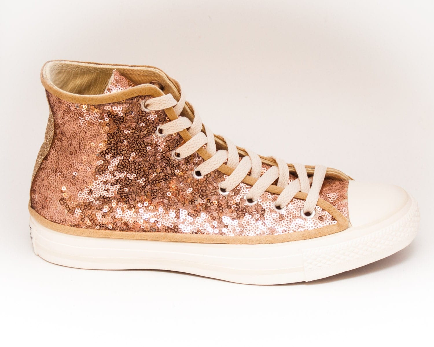 217285061433 SEQUIN ROSE GOLD ON CHAMPAGNE CANVAS CUSTOMIZED CONVERSE CANVAS HI TOP  SNEAKERS TENNIS SHOES on The Hunt
