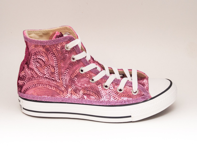 sequin blush pink swirl curl pattern converse all hi