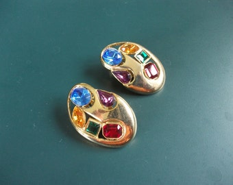 Vintage Modernist Multi Colored Glass Rhinestone Clip On Earrings