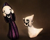 Boo and Poppet - Hand sculpted Poppet and mini ghost set - only for a limited time