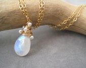 Moonstone Whirlwind Necklace - Moonstone Pendant - Pearls - June - Wire Wrapped - Birthstone Jewelry - Gold - Semi Precious - Jewelry