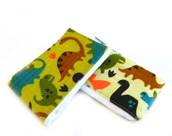 Dinosaur Burp Cloth boy - Blue Orange Brown Green- set of 2 // Cotton Diaper Burp Cloths / Baby Shower Gift
