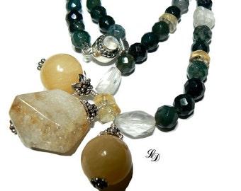 "Artisan statement necklac, silver and gems ""Woodland"" necklace, semi precious, statement, artsy, modern, elegant, unique - Free shipping"