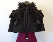Two piece black pin striped tattered and frayed fabric Goth Victorian night circus steampunk ruffle wrap mini cape