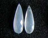 35% OFF Grey milky moonstone faceted elongated pear briolette- last pair