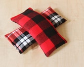 Flannel Eye Pillow, Flaxseed Lavender Hot Cold Pack, Cozy Winter Accessories, Red & Black Buffalo Check Plaid