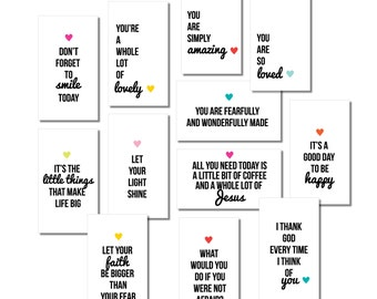 PRINTABLE Mini Inspirational Quote Cards / Collection #1 / Mini Lunchbox Notes / Encouragement Cards / Cards for Kids / Digital Download