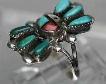 Vintage Sterling and Turquoise Ring -Southwestern Design - Zuni