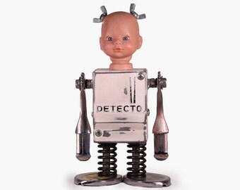 Recycled Metal Assemblage Baby Head Robot Art Sculpture
