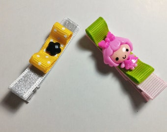 2 Pcs Lovely Girl Theme - Hair Clip for Baby and Toddler (Alligator Clip)with Silicone Non-Slip Grip