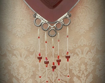 Beaded Ruby Charm - Vintage 1940's Saucer Upcycled into a Wind Chime