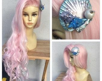 Pastel Pretty Pink Mermaid Wig with Seashell Hair Clip