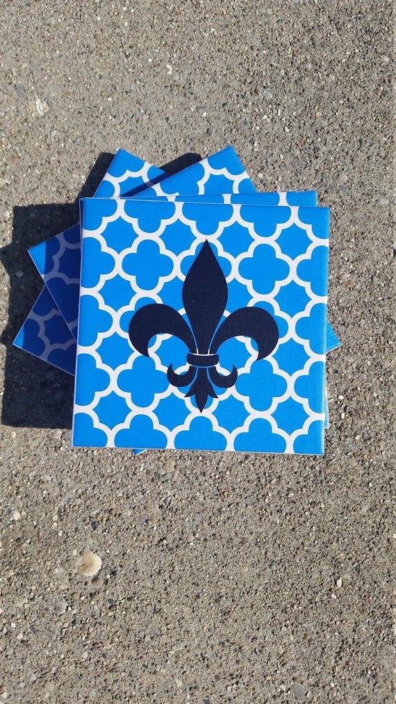 Items Similar To Fleur De Lis Ceramic Tile Coasters On Etsy
