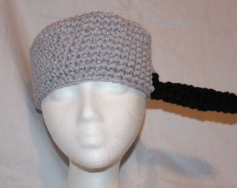 pot / pan hat handmade crocheted hat made to look like a pot or a pan. Perfect for Johnny Appleseed day