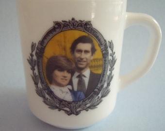 Prince Charles and Lady Diana Marriage 1981 Arcopal France Commemorative Milk Glass Mug