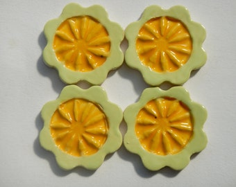 4 Yellow Mosaic Flower Tiles-Stoneware Flower Tiles