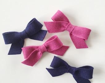 Felt Pigtail Bows- YOU choose color- Set of 2