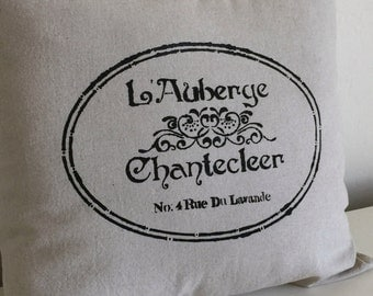 French Inn Hand Painted Linen Pillow Cover - Decorative Pillow