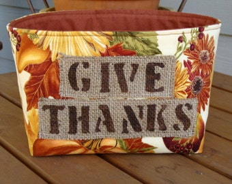 Fall Fabric Basket with a Burlap Coffee Sack Stenciled Label