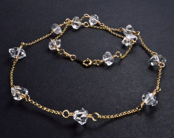 Herkimer Type Diamond Rough Quartz Crystal 14k Gold Filled Wire Wrapped Necklace