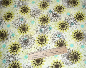 """Flannel, Retro floral print, pale green, aqua, brown, white, blankets, PJ's, boxers, sewing, quilting, cotton, 44"""" wide, BTY, Destash"""